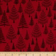 Scandi 3 Christmas Quilt Fabric Tossed Red Trees Makower UK Premium Cotton