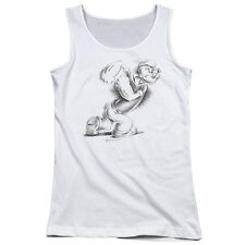 Popeye Here Comes Trouble Juniors Tank Top Shirt WHITE