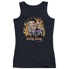 Betty Boop Biker Flames Betty Boop Juniors Tank Top Shirt BLACK