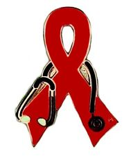Red Ribbon Stethoscope Lapel Pin Tac Tack Cancer Cause Awareness Pins New