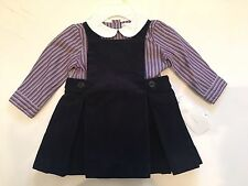 NWT Ralph Lauren Baby Girl Oxford Polo Shirt Corduroy Jumper Dress Set 3 6 9 Mos