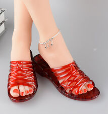 Summer Womens Slippers comfy wedge Heels transparent Red loafers Slip on Sandals