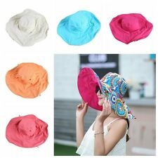 Women Lady Canvas Cloth Foldable Wide Large Brim Cap Casual Bonnet Beach Sun Hat
