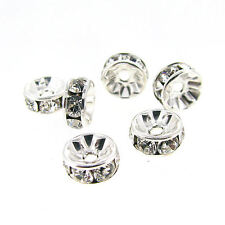 Swarovski Elements Silver Rondelle Clear Bright Crystal CZ Bead Ring Spacer