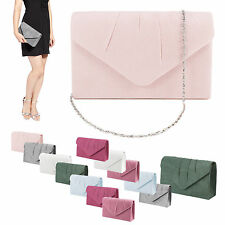 Ladies Faux Suede Pleated Clutch Bag Handbag Womens Designer Prom Party Wedding