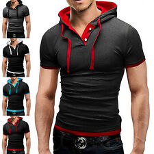 Mens Slim Fit Sport Short Sleeve Shirts Hooded Tee Tops Hoodies Casual Tee Shirt