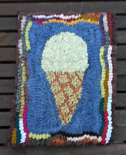 Beginner Ice Cream Cone Primitive Rug Hooking KIT WITH #8 CUT WOOL STRIPS