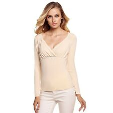 Sexy Womens V Neck Long Sleeve Ruched Front Drape Slim Solid Casual Tops B20E01