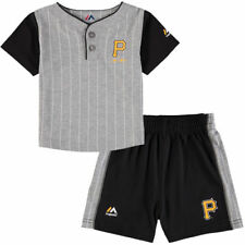 Majestic Pittsburgh Pirates Infant Gray/Black Batter Up T-Shirt & Shorts Set