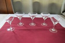 1950s VTG Set 5 Etched Design Crystal Clear Champagne Glasses Art Deco!