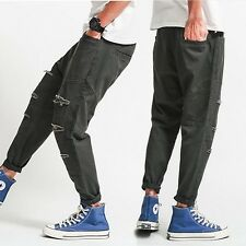 New Fashion Mens Casual Overalls Pants Broken Hole Harem Pencil Baggy Trousers