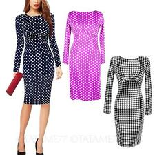 Casual Womens ladies Above Knee Long Sleeved Polka Dot Fitted elegant Dress Size