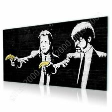 Alonline Art - CANVAS (Rolled) Pulp Fiction Banana Banksy Painting Oil Paint