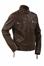 Infinity New Men's Casual 100% Sheepskin Brown Nappa Leather Slim Fit Jacket