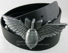 Western Military Bomb Grenade with Wings Genuine Leather Belt Buckle Boys Mens