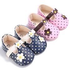 Toddler Baby Girl PU Leather Flower Shoes Soft Sole Prewalker 0-18 M Pink/Blue