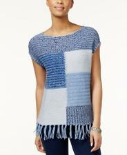 NWT American Living Blue Fringe Hem Colorblock Knit Top Size Small