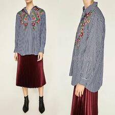 Women's New Summer Embroidery Floral Plaid Long Sleeve Blouse Tops Shirt P2E1