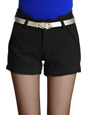 Ladies Mid Rise Button Down Zip Fly Casual Short Pants