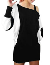 Lady Color Block Batwing Sleeve Over Hip Casual Mini Dress