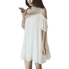 Woman Lace Panel Cut Out Shoulder Round Neck Chiffon Pleated Dress