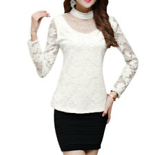 Women Ruffle Mock Neck Semi Sheer Sleeves Butterfly Applique Front Lace Top