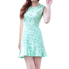 Women Sleeveless Flouncing Hem Flower Print Sheath Dress