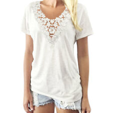 Women Deep V Neck Short Sleeves Crochet Panel Slim Fit Top