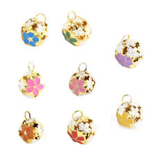 10 Pcs Christmas Party Decor Hollow Out Design Flower Shaped Ring Jingle Bell