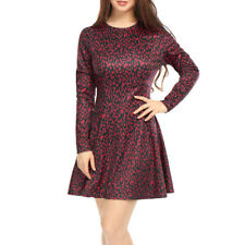Allegra K Women Leopard Prints Long Sleeves Above Knee A Line Dress