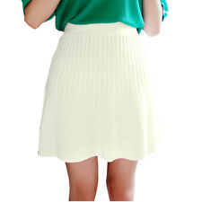 Women Elastic Waist Stretchy Textured Knitted Casual Mini A Line Skirt