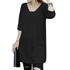 Woman V Neck 3/4 Dolman Sleeves Loose Fit Longline Knit Top