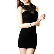 Ladies Lace Panel Cut Out Back Round Neck Sleeveless Sheath Dress