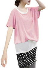 Ladies Scoop Neck Layers Dots Pattern Casual Stretchy Shirt
