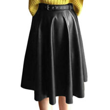Women High Waist Belted Below Knee Pu A-Line Skirt