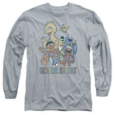 Sesame Street Colorful Group Mens Long Sleeve Shirt Athletic Heather