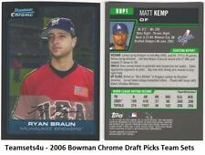 2006 Bowman Chrome Draft Picks and Prospects Baseball Set ** Pick Your Team **