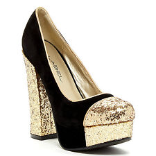 Glitter Black Gold Round toe Chunky Heel pumps Party Prom Women's shoes Artie-8