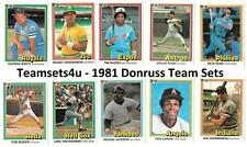 1981 Donruss Baseball Team Sets ** Pick Your Team Set **