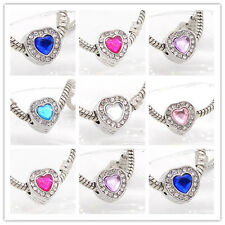 2017 new 1pcs Silver  European Charm crystal glass Beads Fit Necklace Bracelet