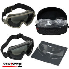 Tactical Regulator Goggle Anti-fogging Anti-dust Goggle Eye Protector + 2 Lens