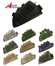 Airsoft Tactical Military Rifle Butt Stock Ammo Pouch Holder w/Cheek Leather Pad