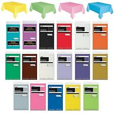 RECTANGULAR Plastic TABLECOVER - Plain Solid Colours Birthday Party Catering