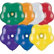Pack of 6 Qualatex GEO Blossom Shaped Latex Party Balloons - Helium or Airfill
