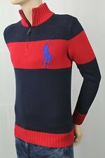 POLO Ralph Lauren Red Navy 1/2 Half Zip Sweater Big Blue Pony NWT