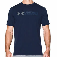 Under Armour Mens UA Raid Turbo Graphic Short Sleeve Tech Tee T Shirt Top - Navy
