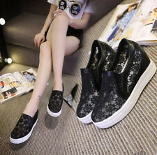 New fashion Women's Lace Hidden Wedge High Top Sneakers Athletic Cozy Shoes 2018