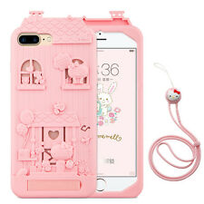 Hello Kitty Wooden House Soft Silicone Case Cover for iPhone 7 7 Plus 6S + Strap