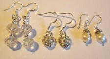 Wholesale 3 Assorted Pairs Sterling silver Drop/dangle earrings 925
