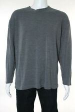 Neiman Marcus Exclusive Mens Gray Silk Long Sleeve Shirt Size Extra Large